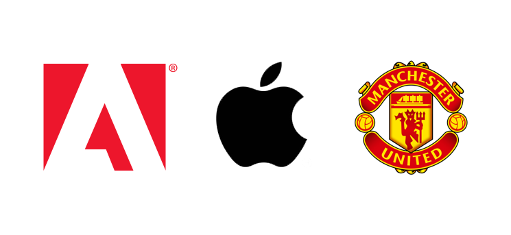 Adobe Apple and Manchester United Logos