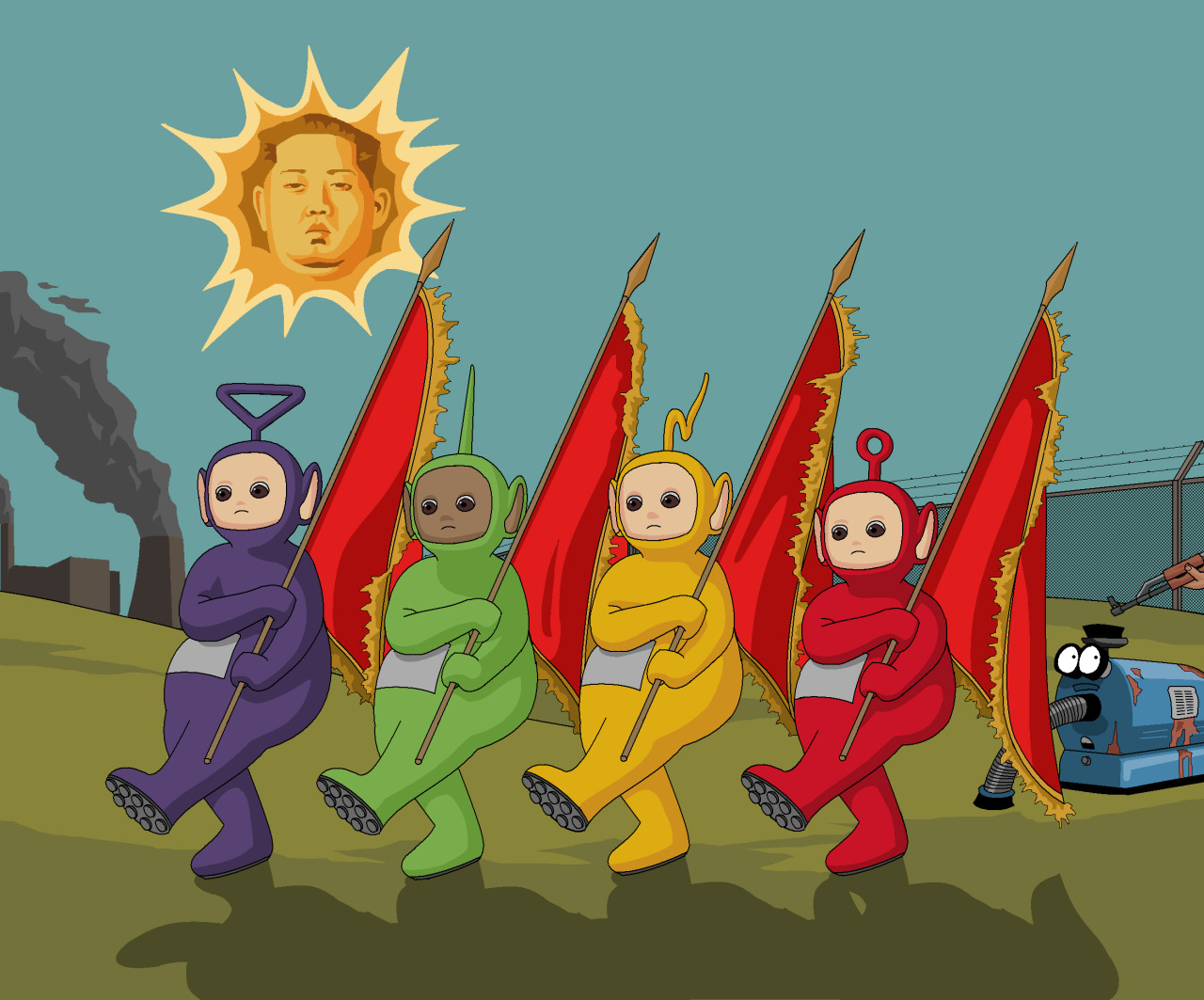 The Teletubbies in North Korea by Jim'll Paint It