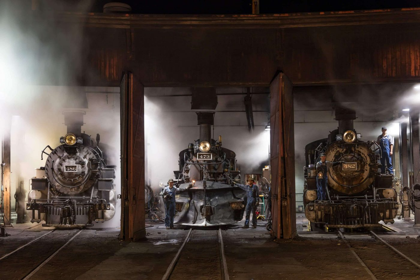 Steam locomotives in the roundhouse of the Durango & Silverton Narrow Gauge Scenic Railroad in Durango, Colordo.